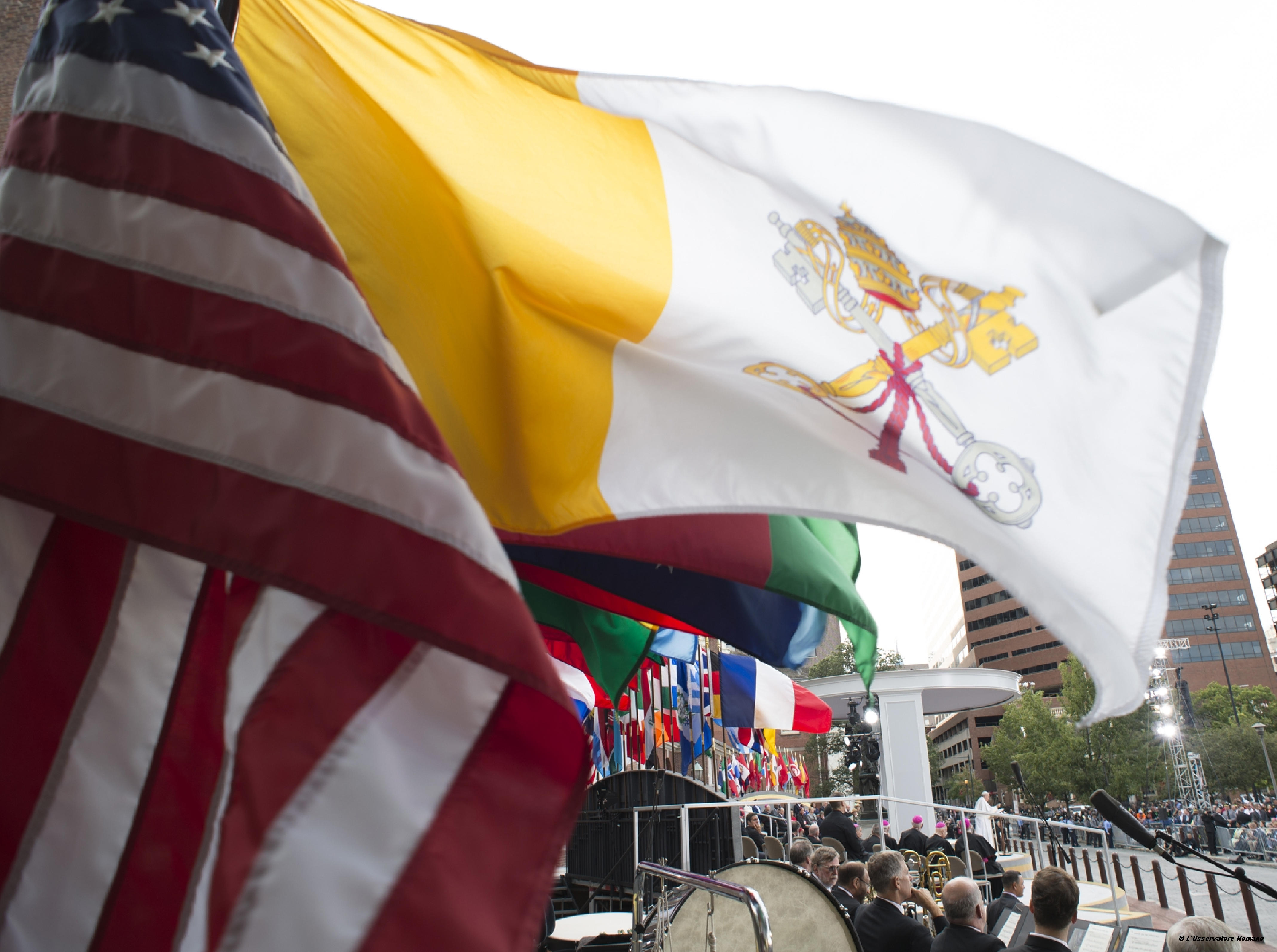 Flags of USA and Vatican State