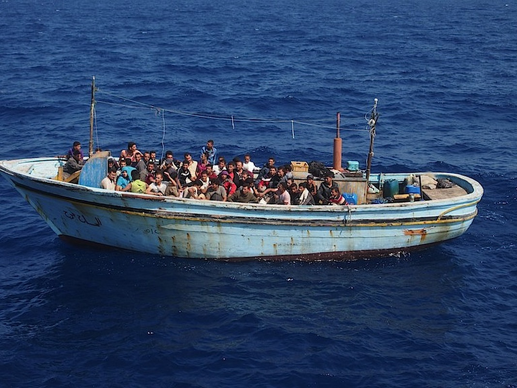 A boat carrying migrants trying to reach Europe