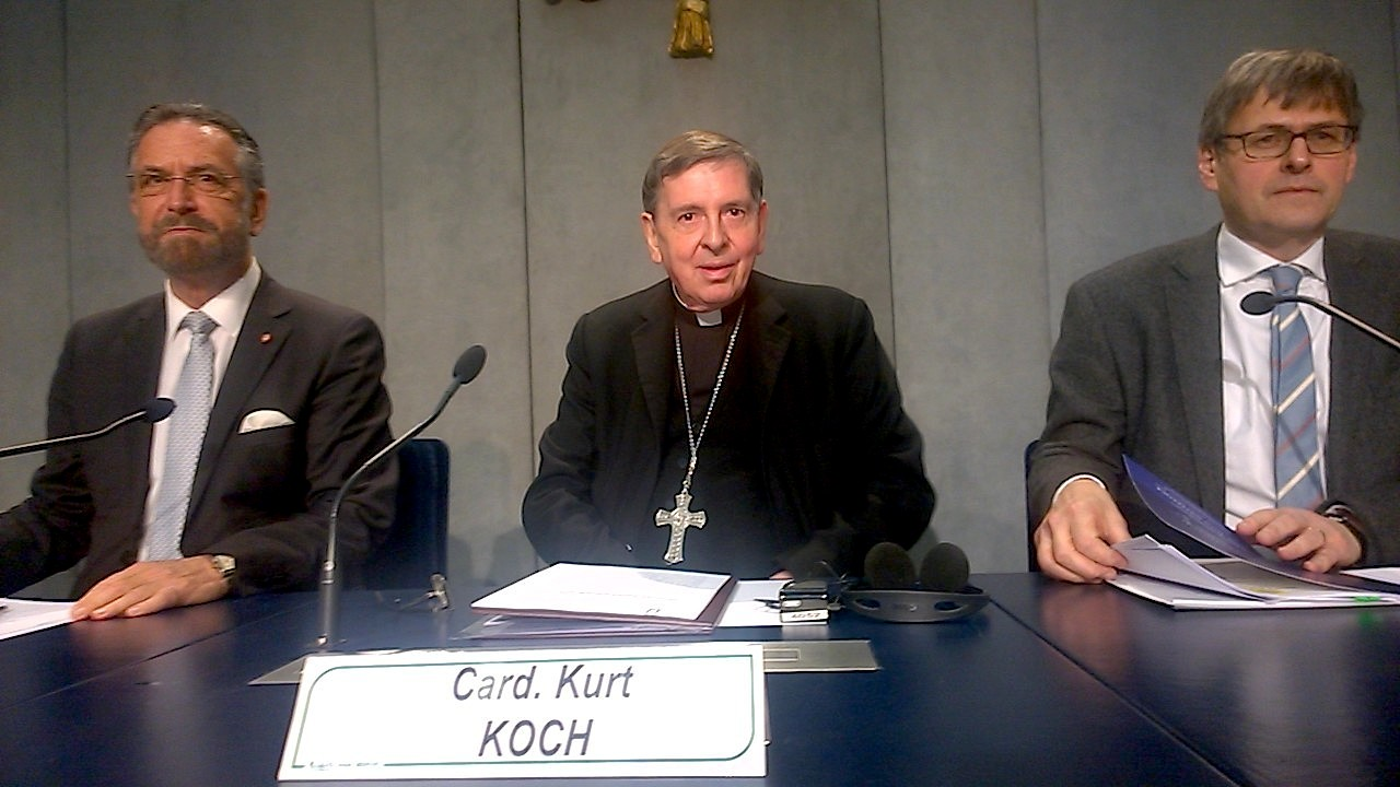 Cardinal Kurt Koch between Rabbi David Rosen