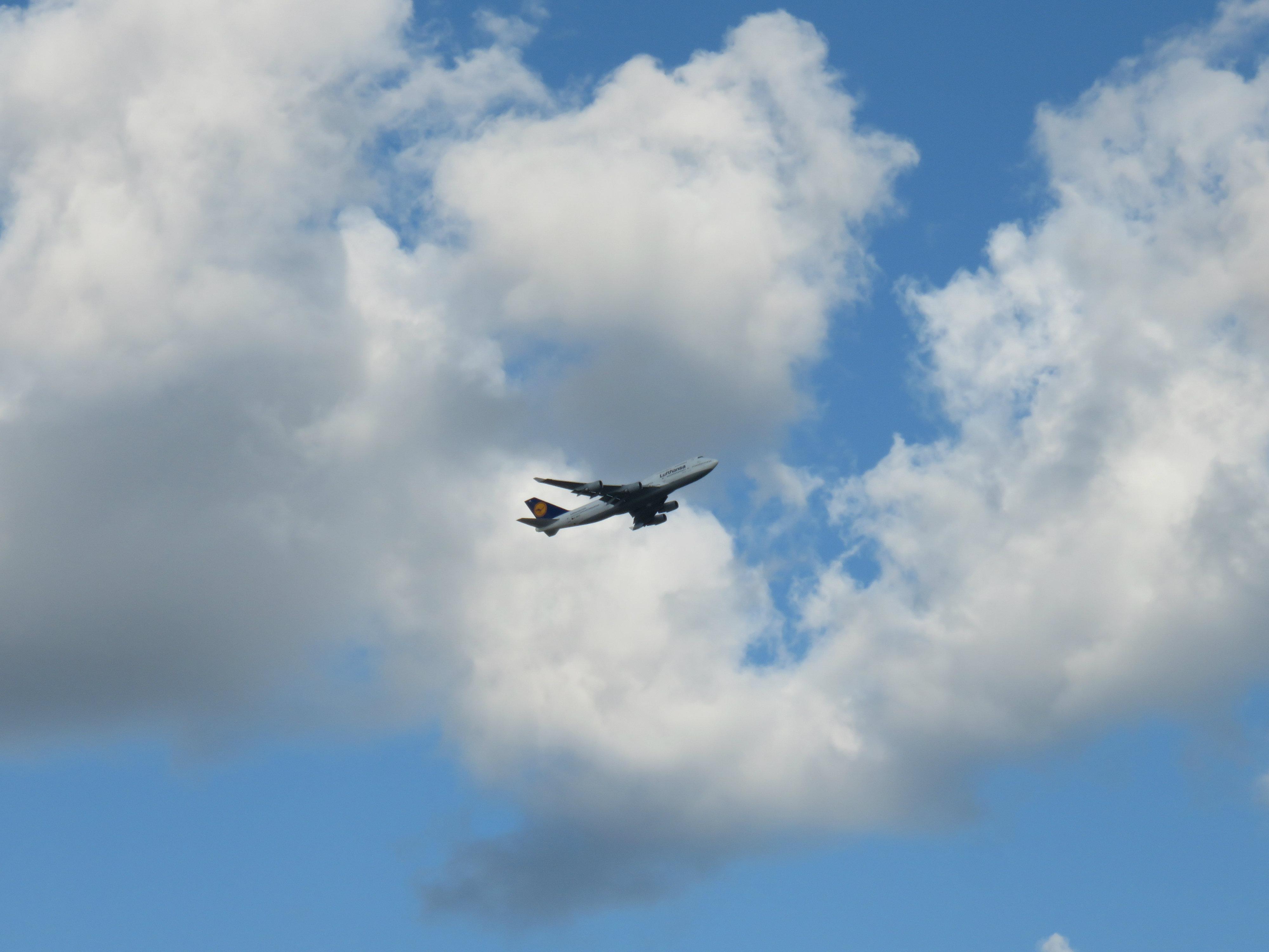 Airplane climbing into the sky