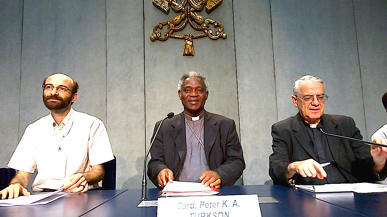 Cardinal Peter Turkson during the presentation of reflexion about miners work in de world