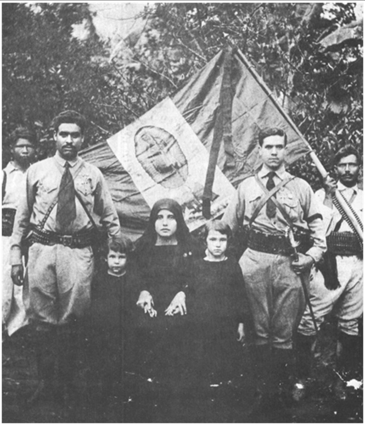 Cristero leaders and their flag