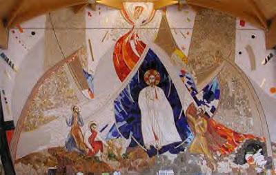 Trasfigurazione © Marko Ivan Rupnik @ Centro Aletti, chiesa SS. Giacomo e Giovanni, Milano